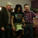 Andy and Slash with Donal and Rory's battered 1961 Fender Stratocaster Sunburst