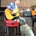 His Master's Voice... Buster with Johnny Marr, during filming for The One Show, Salford, 26 May 2015.